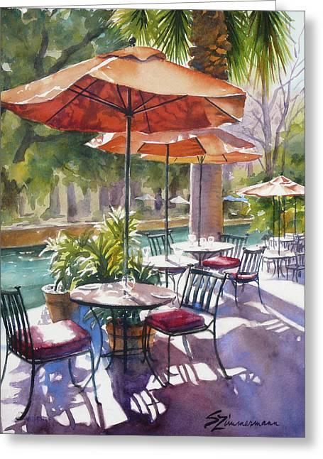 Best Sellers -  - Al Fresco Greeting Cards - Orange Umbrellas Greeting Card by Sue Zimmermann