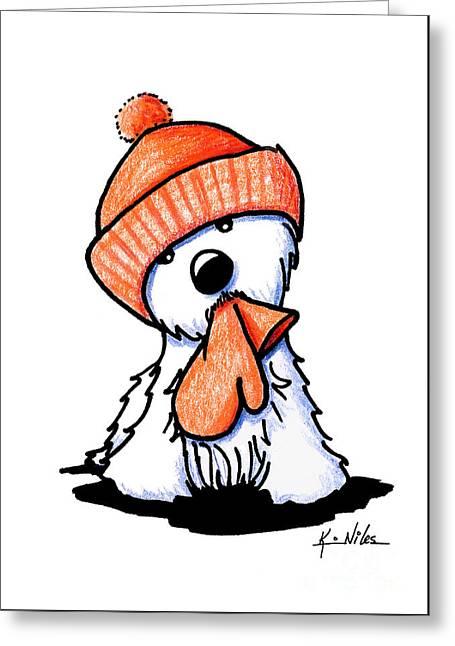 Orange Winter Westie Greeting Card by Kim Niles