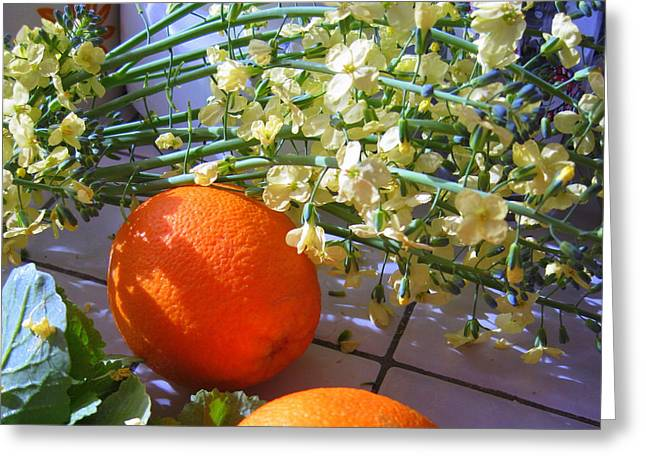 Best Sellers -  - Broccoli Greeting Cards - Oranges and Blossoms Greeting Card by Lessandra Grimley
