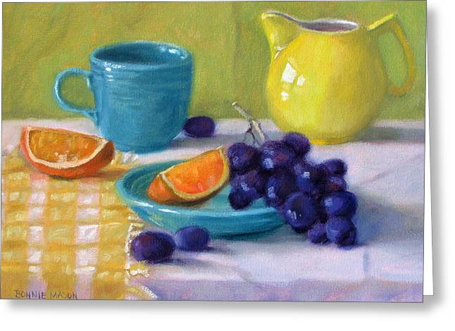 Blue Grapes Greeting Cards - Oranges and Grapes Greeting Card by Bonnie Mason