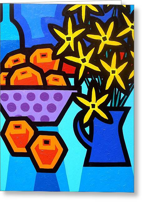 Stylised Greeting Cards - Oranges Flowers and Bottle Greeting Card by John  Nolan