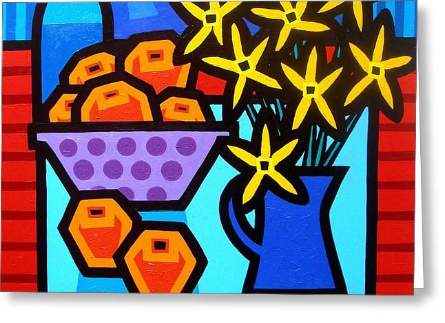 Oranges Flowers and Bottle Greeting Card by John  Nolan