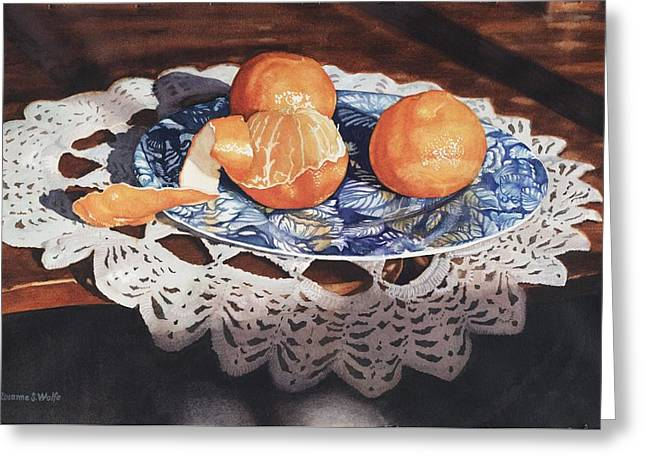 Crocheted Doily Greeting Cards - Oranges On Blue Plate Greeting Card by Rosanne Wolfe