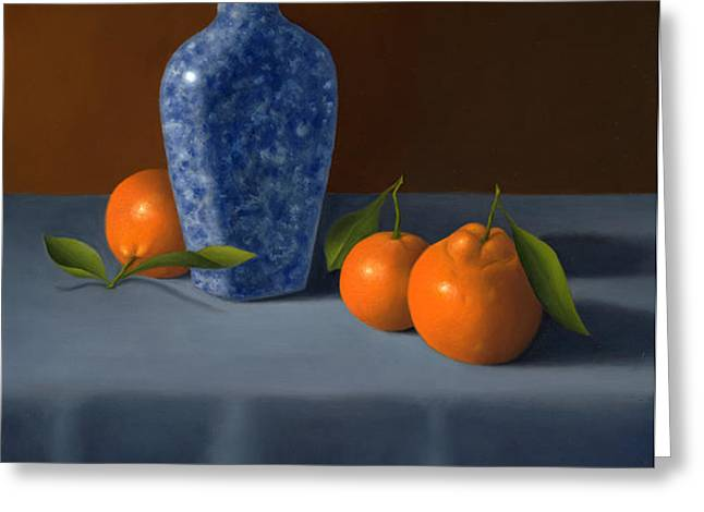 Oranges With Blue Vase Greeting Card by Christa Eppinghaus