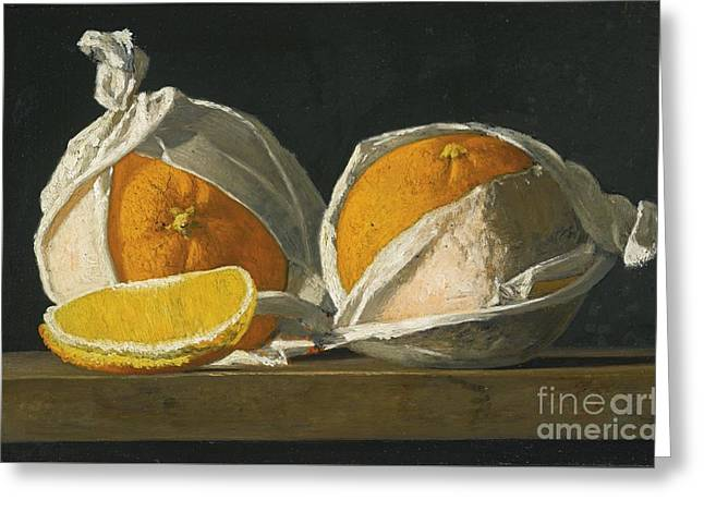 Oranges Wrapped Greeting Card by John Frederick