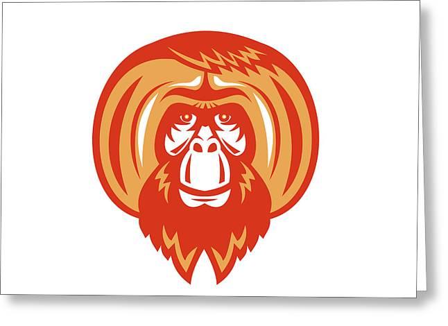 Orangutan Bearded Front Retro Greeting Card by Aloysius Patrimonio