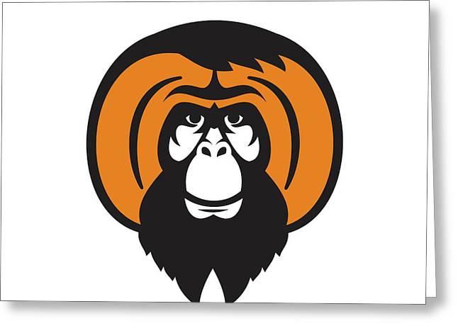 Orangutan Bearded Tussled Hair Retro Greeting Card by Aloysius Patrimonio