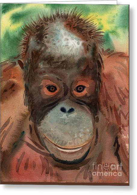 Orangutan Greeting Card by Donald Maier