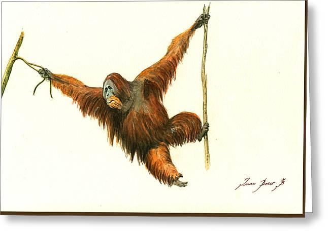 Orangutan Greeting Card by Juan Bosco