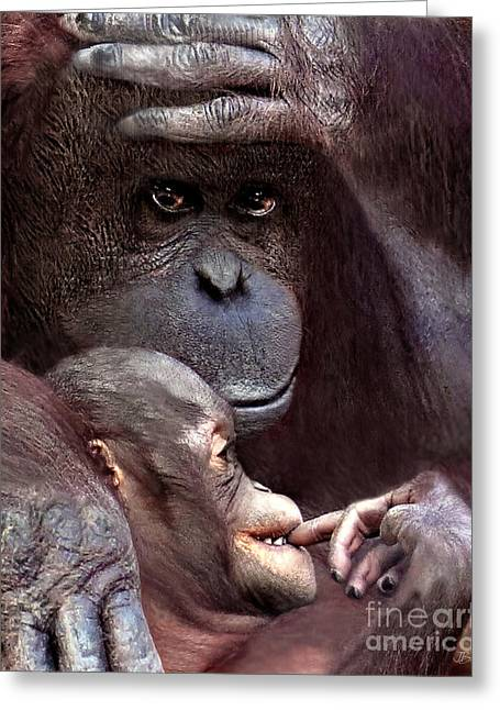 Love The Animal Greeting Cards - Orangutan Love Greeting Card by Jennie Breeze