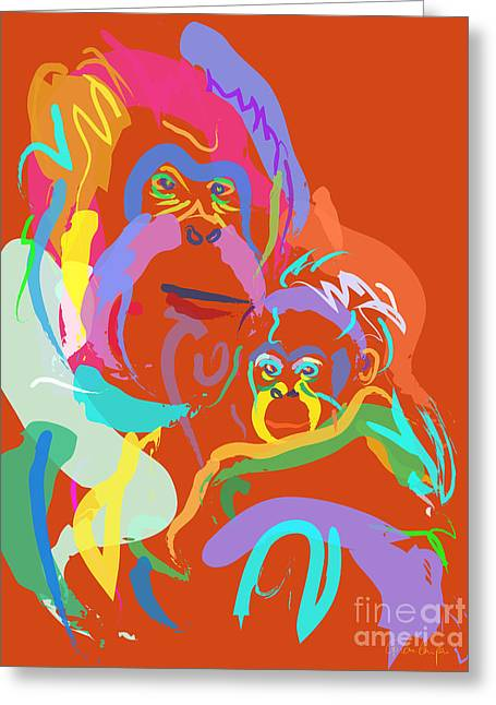 Orangutan Mom And Baby Greeting Card by Go Van Kampen