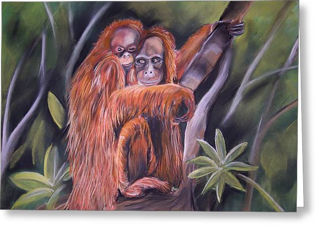 Orangutan Pastels Greeting Cards - Orangutan Mum And Bub  Greeting Card by Cynthia Farr