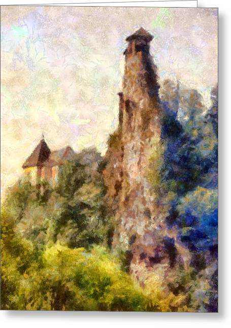 Orava Castle - Rear Side Greeting Card by Peter Kupcik
