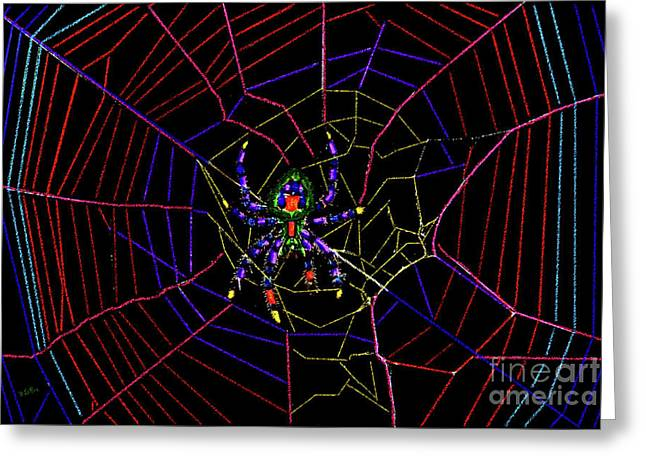 Spiderweb Art Greeting Cards - Orb Weaver Spider Greeting Card by Betty LaRue