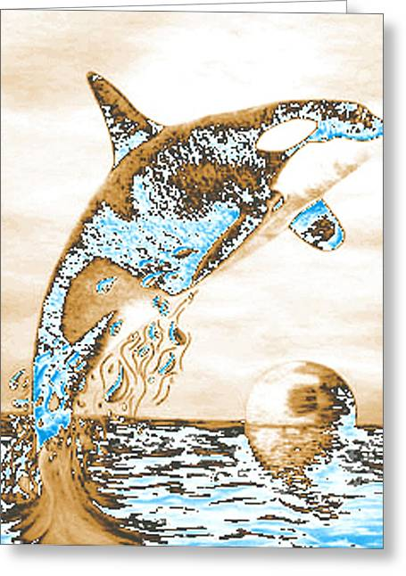 Whale Pastels Greeting Cards - Orca PS Greeting Card by Mayhem Mediums