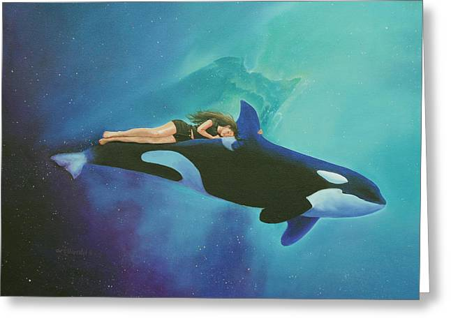Orca Rider Greeting Card by Cecilia Brendel