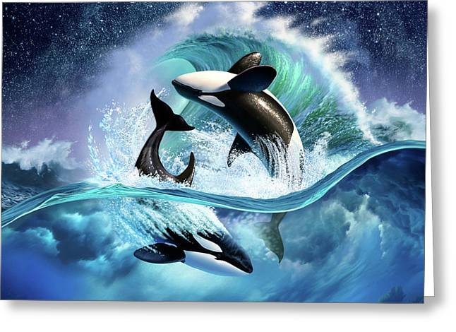 Orca Wave Greeting Card by Jerry LoFaro