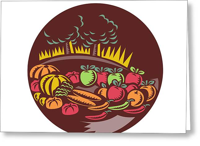 Orchard Crop Harvest Circle Woodcut Greeting Card by Aloysius Patrimonio
