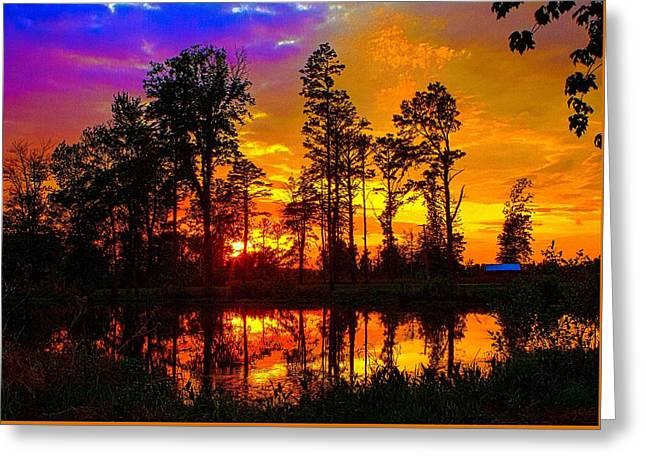 Wildlife Refuge. Greeting Cards - Orchard Lake Sunset Greeting Card by Jeff Kurtz