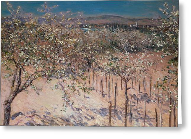 Les Fleurs Greeting Cards - Orchard with Flowering Apple Trees Greeting Card by Gustave Caillebotte
