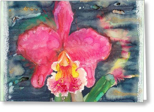 Orchid Surreal Pink Cattleya Greeting Card by Sandra Swan