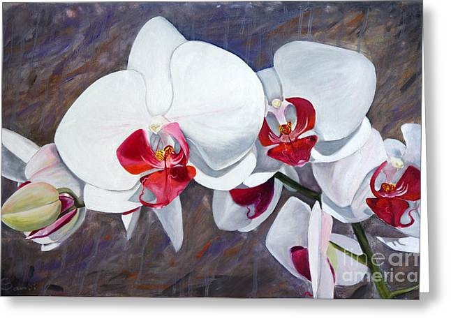 Orchids In Oil Greeting Card by Sandi Baker