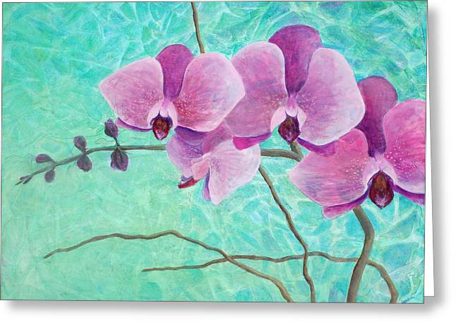 Texture Flower Paintings Greeting Cards - Orchids in Pink Greeting Card by Arlissa Vaughn