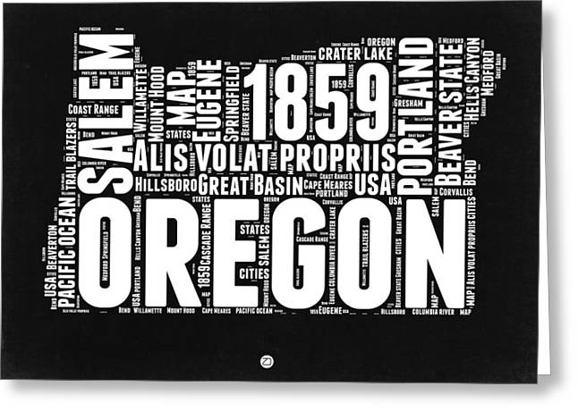 Oregon Black And White Map Greeting Card by Naxart Studio
