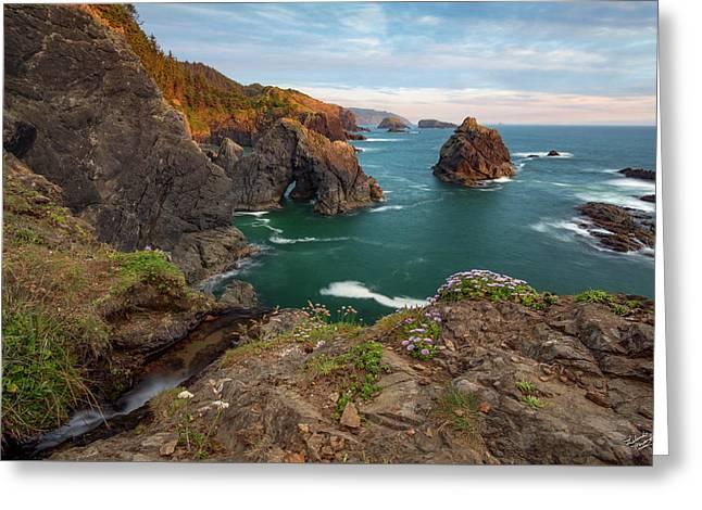 Oregon Coastal Scenic Greeting Card by Leland D Howard