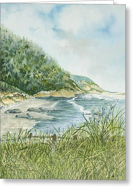 Foggy Ocean Paintings Greeting Cards - Oregon coastline Greeting Card by Virginia McLaren