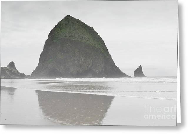 Haystack Framed Prints Greeting Cards - Oregon Haystack Rock Shore Greeting Card by Andrea Hazel Ihlefeld