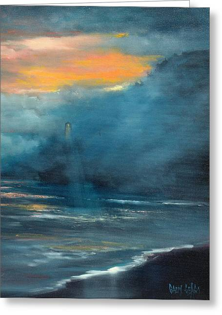 Foggy Ocean Paintings Greeting Cards - Oregon Lighthouse Greeting Card by Sally Seago