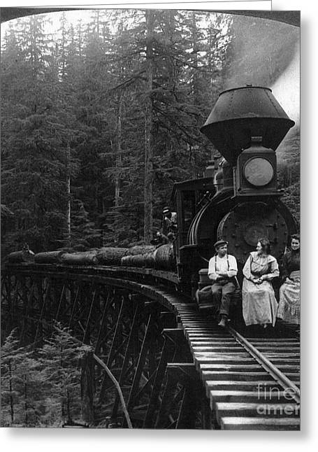 Seat Of Power Greeting Cards - Oregon: Logging Train Greeting Card by Granger