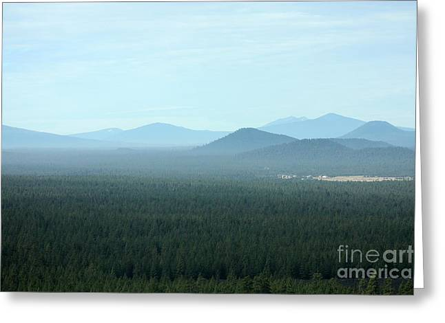 Deschutes Greeting Cards - Oregon Misty Mountains Greeting Card by Carol Groenen