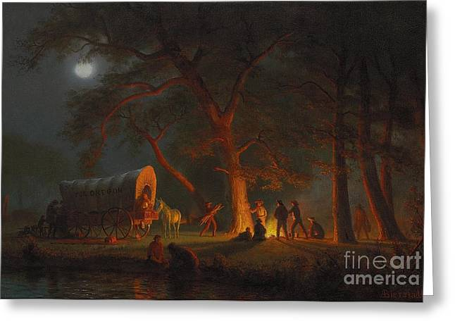 Glowing Greeting Cards - Oregon Trail Greeting Card by Albert Bierstadt