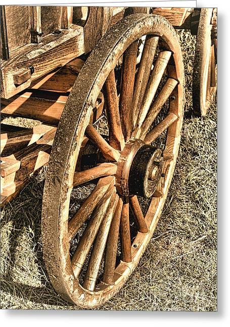 Wagon Wheels Photographs Greeting Cards - Oregon Trail  Greeting Card by Olivier Le Queinec