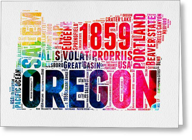 4th July Greeting Cards - Oregon Watercolor Word Cloud Greeting Card by Naxart Studio