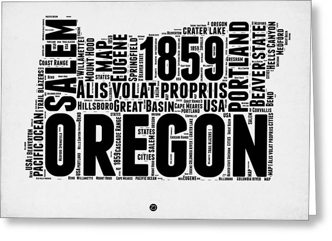4th July Greeting Cards - Oregon Word Cloud 1 Greeting Card by Naxart Studio