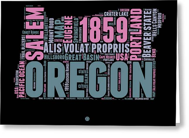 4th July Greeting Cards - Oregon Word Cloud 2 Greeting Card by Naxart Studio