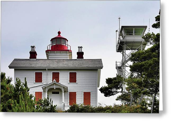 Waterscape Greeting Cards - Oregons Seacoast Lighthouses - Yaquina Bay Lighthouse - Old and New Greeting Card by Christine Till