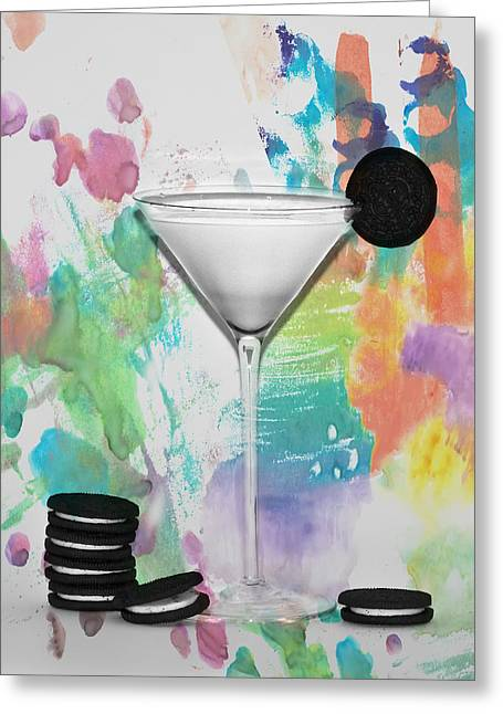 Oreo Happy Hour Watercolor Bg Greeting Card by Bill Cannon