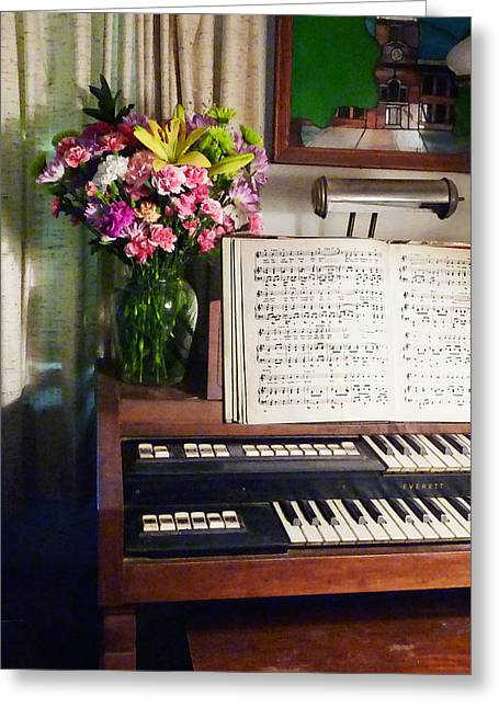 Sheet Music Greeting Cards - Organ and Bouquet of Flowers Greeting Card by Susan Savad