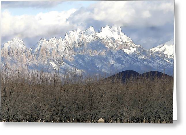 Las Cruces Digital Greeting Cards - Organ Mountains in Snow Greeting Card by Elaine Frink