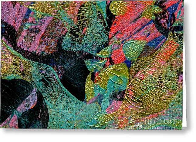Printmaking Greeting Cards - Organic Abstract Greeting Card by Laura L Leatherwood