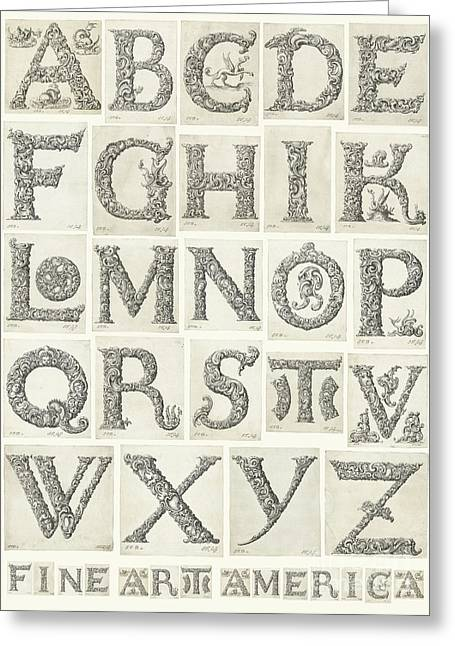 Organic Drawings Greeting Cards - Organic alphabet collage poster Greeting Card by Evgeni Nedelchev