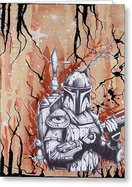 Ball Point Pen Greeting Cards - Organic Boba in Black Lightning Storm Greeting Card by Iosua Tai Taeoalii