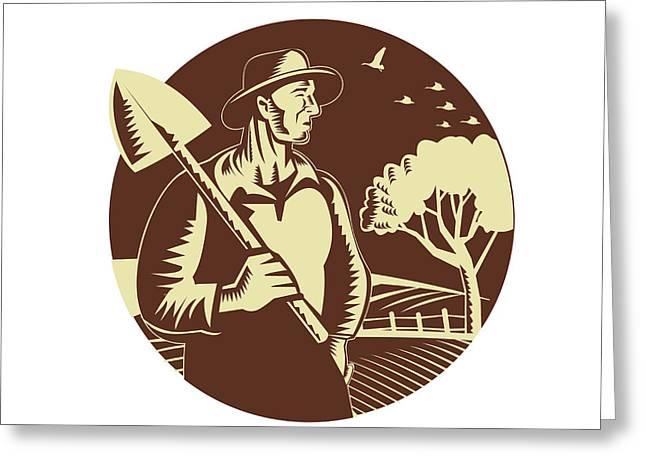 Organic Farmer Holding Shovel Farm Circle Woodcut Greeting Card by Aloysius Patrimonio