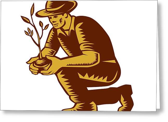 Linocut Print Greeting Cards - Organic Farmer Planting Tree Woodcut Linocut Greeting Card by Aloysius Patrimonio