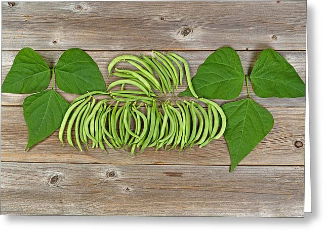 Green Beans Greeting Cards - Organized green beans and leaves on rustic wooden boards Greeting Card by Tom  Baker