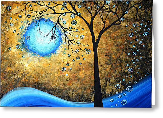 Orginal Abstract Landscape Painting Blue Fire By Madart Greeting Card by Megan Duncanson